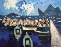Vibrant Blue Abstract Harbour Scene with Boats and Sea 'Le Port' by ClaudeVenard
