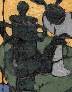 Yellow & Green Still Life painting of a coffee pot 'Cafietiere avec des Fruits'