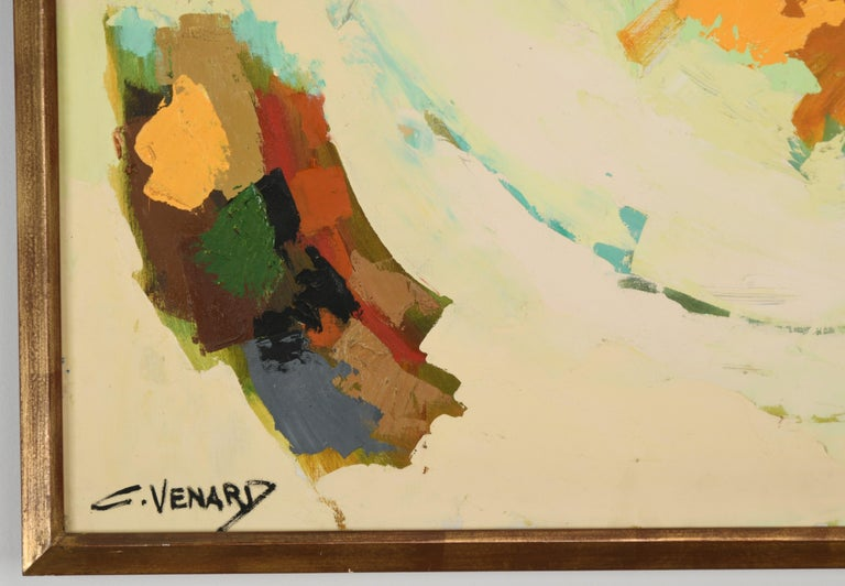 Claude Venard Post Cubist Oil Painting, 1970 In Good Condition For Sale In Hamburg, PA