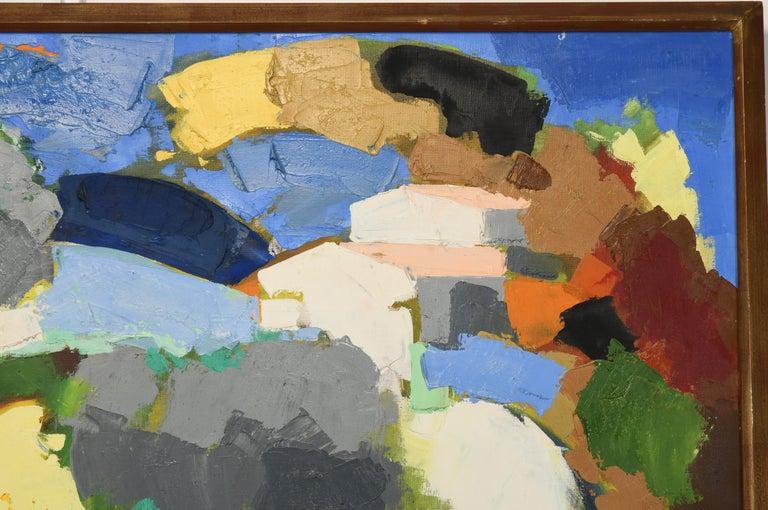 Canvas Claude Venard Post Cubist Oil Painting, 1970 For Sale