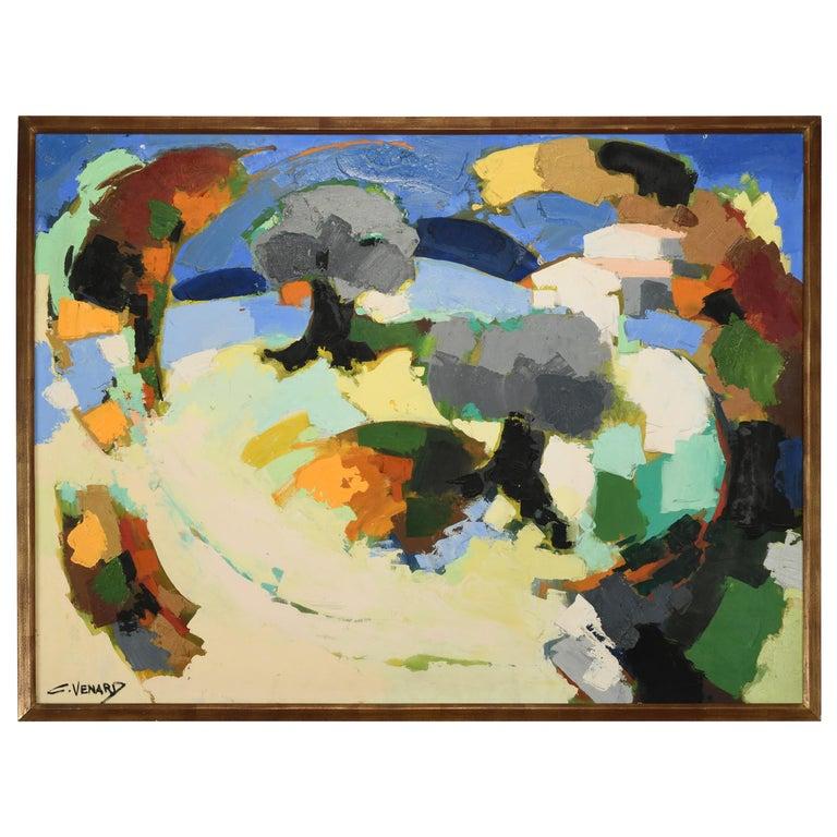 Claude Venard Post Cubist Oil Painting, 1970 For Sale