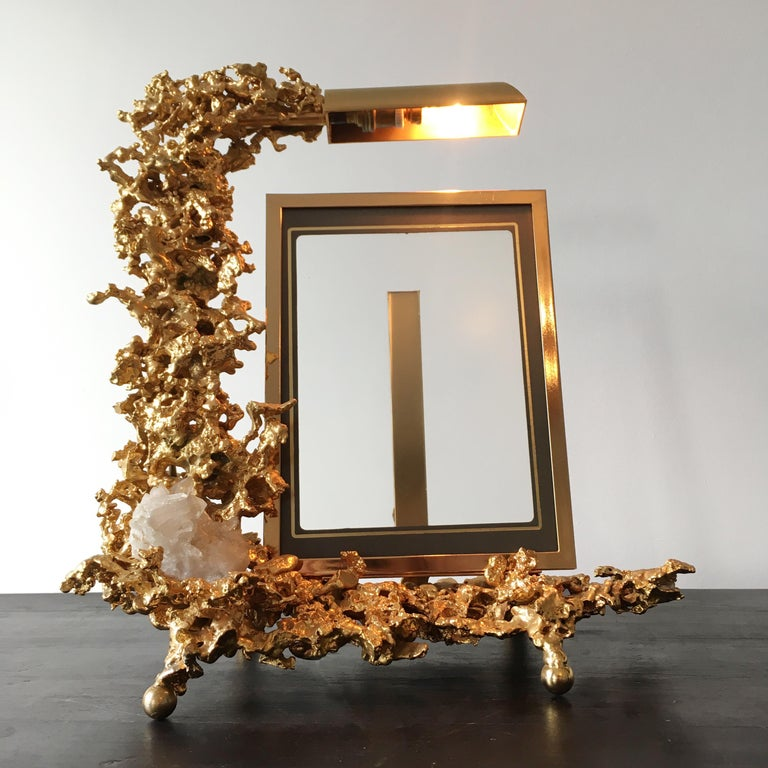 Claude Victor Boeltz 24 Karat Gold-Plated 'Exploded' Photograph Frame In Good Condition For Sale In Hastings, GB