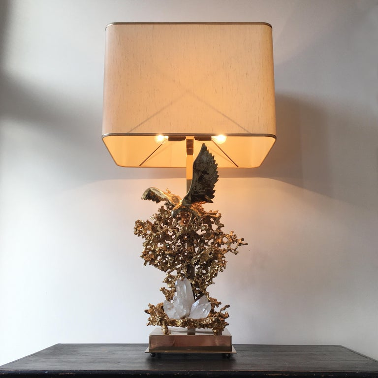 French Claude Victor Boeltz 24-Karat Gold Plated 'Exploded' Table Lamp For Sale