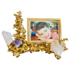 Claude Victor Boeltz French 1970s Gold Bronze Crystal Amethyst Picture Frame