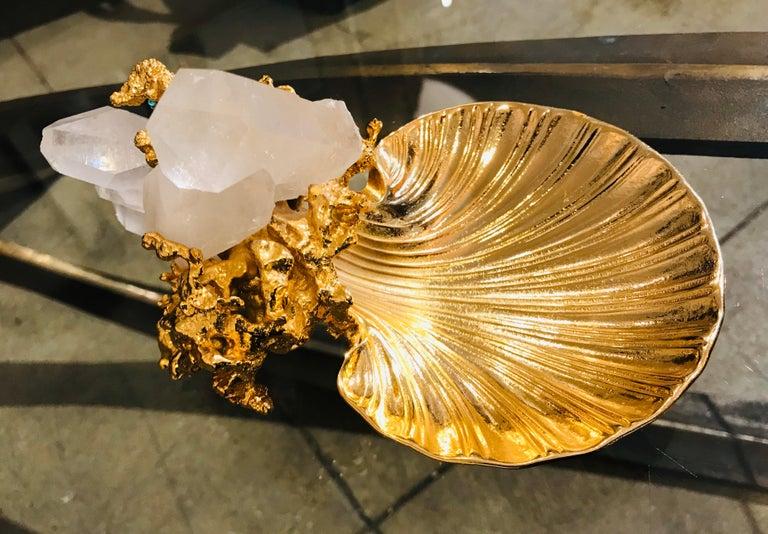 Mid-Century Modern Claude Victor Boeltz French Gold Bronze Dish Sculpture For Sale