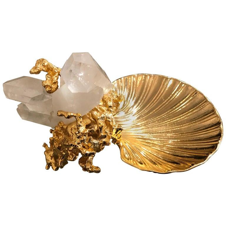 Claude Victor Boeltz French Gold Bronze Dish Sculpture For Sale