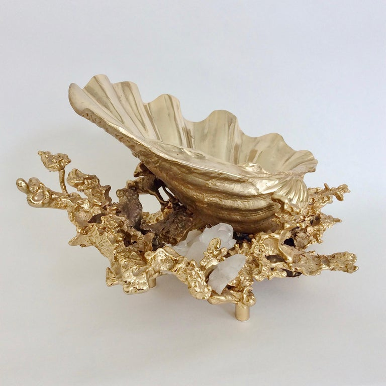 Nice sculptural Claude Victor Boeltz table centerpiece, circa 1980, France. Gold-plated bronze and white quartz. Dimensions: 38 cm W, 20 cm H, 30 cm D. Good original condition. We ship worldwide.