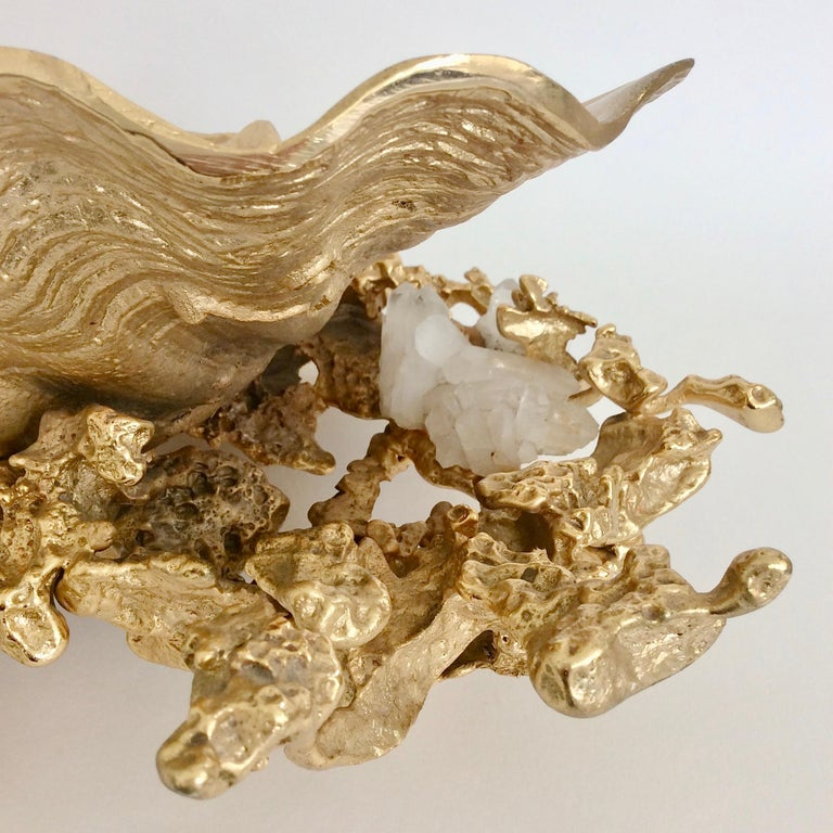 Hollywood Regency Claude Victor Boeltz Gilded Bronze and Quartz Table Centerpiece, France For Sale