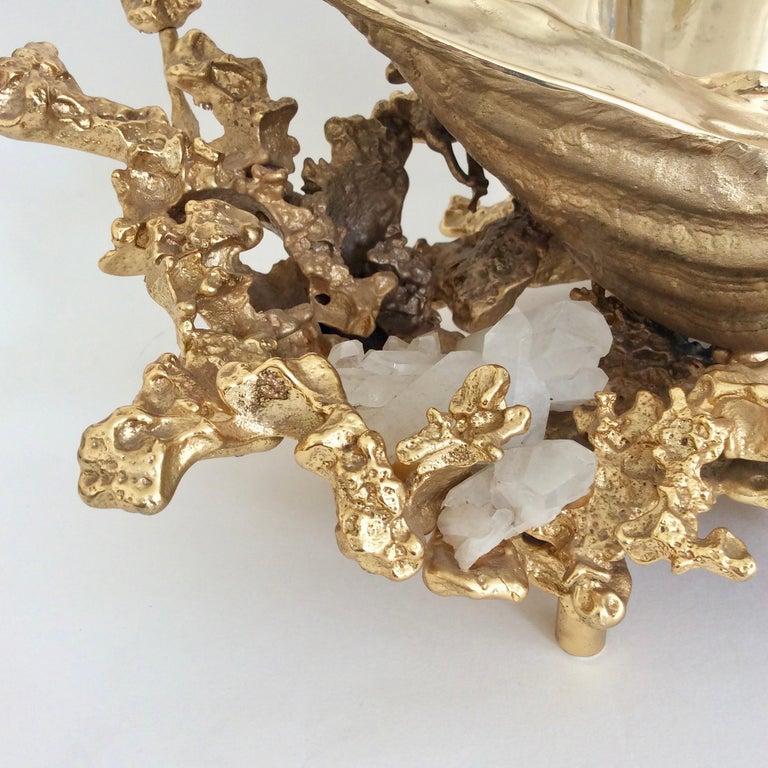 Gilt Claude Victor Boeltz Gilded Bronze and Quartz Table Centerpiece, France For Sale