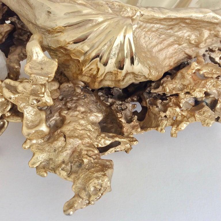 Claude Victor Boeltz Gilded Bronze and Quartz Table Centerpiece, France For Sale 1