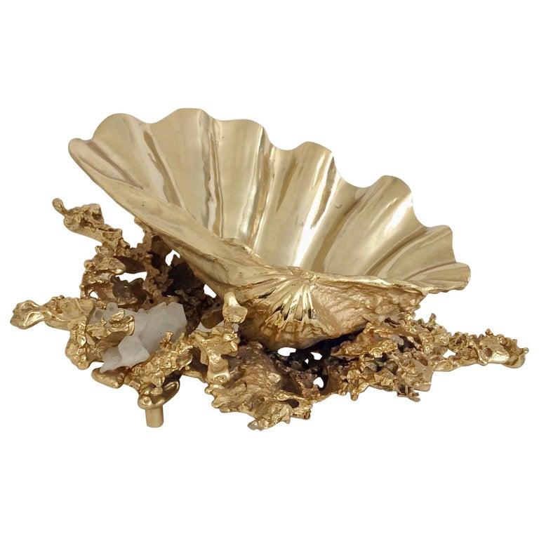 Claude Victor Boeltz Gilded Bronze and Quartz Table Centerpiece, France For Sale