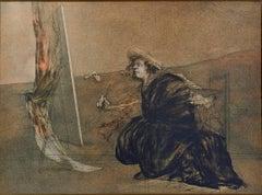 """Artiste Dans l'Atelier,"" Original Colored Lithograph signed by Claude Weisbuch"
