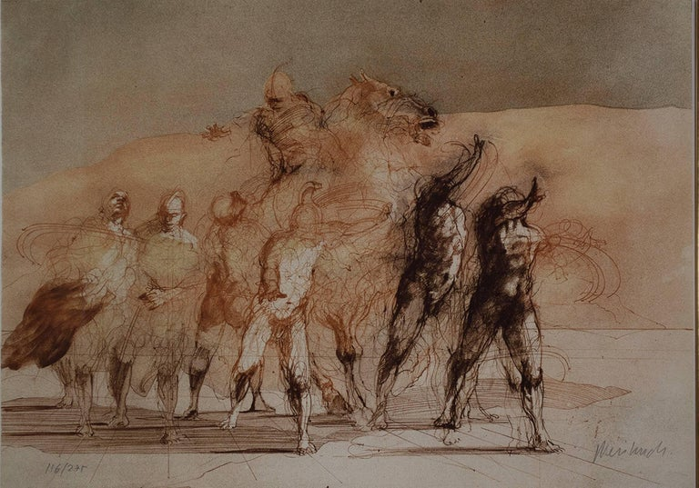 """""""Calligraphie Heroique"""" is an original color lithograph by Claude Weisbuch. The artist signed the piece in the lower right and wrote the edition number (116/275) in the lower left. This piece depicts a number of human figures as well as a soldier on"""