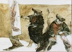 """""""Geste et Peinture,"""" Original Color Lithograph signed by Claude Weisbuch"""