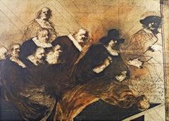 """""""La Lecon du Professor Tulp,"""" Original Lithograph signed by Claude Weisbuch"""