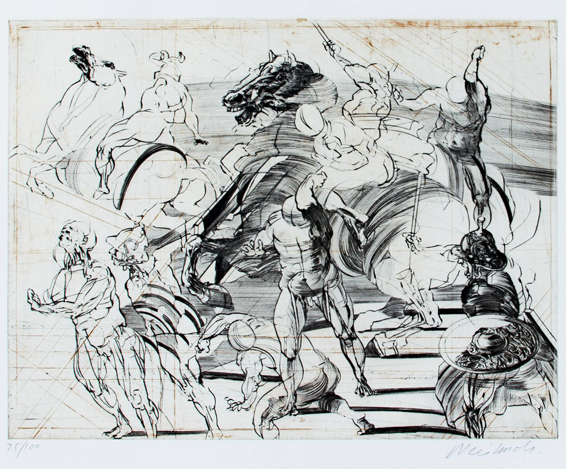 """""""Le Bouclier,"""" Original Drypoint Etching signed by Claude Weisbuch"""