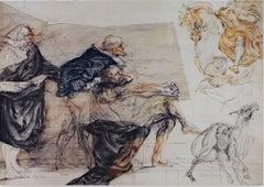 """""""Le Portrait Equestre,"""" Original Color Lithograph signed by Claude Weisbuch"""