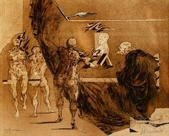 """""""Le Trait de la Figure,"""" original color lithograph by Claude Weisbuch"""