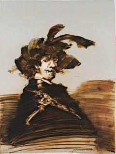 """""""Rembrandt en Habit de Capitaine,"""" original color lithograph by Claude Weisbuch"""