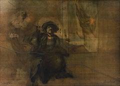 """""""Seul dans l'Atelier,"""" Original Color Lithograph signed by Claude Weisbuch"""