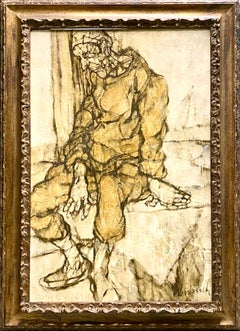 Large French Figurative Expressionist Oil Painting Seated Figure Claude Weisbuch