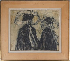 Two Women with Traditional Brittany Dress - Original Oil on Canvas, Signed