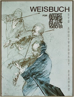'Artist Series at the Pabst' original lithograph poster, violinists 1980s