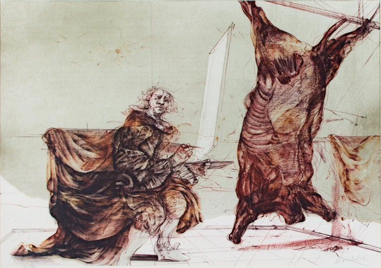 'Boeuf Ecorche' original signed lithograph, Rembrandt with slaughtered ox 1970s - Print by Claude Weisbuch