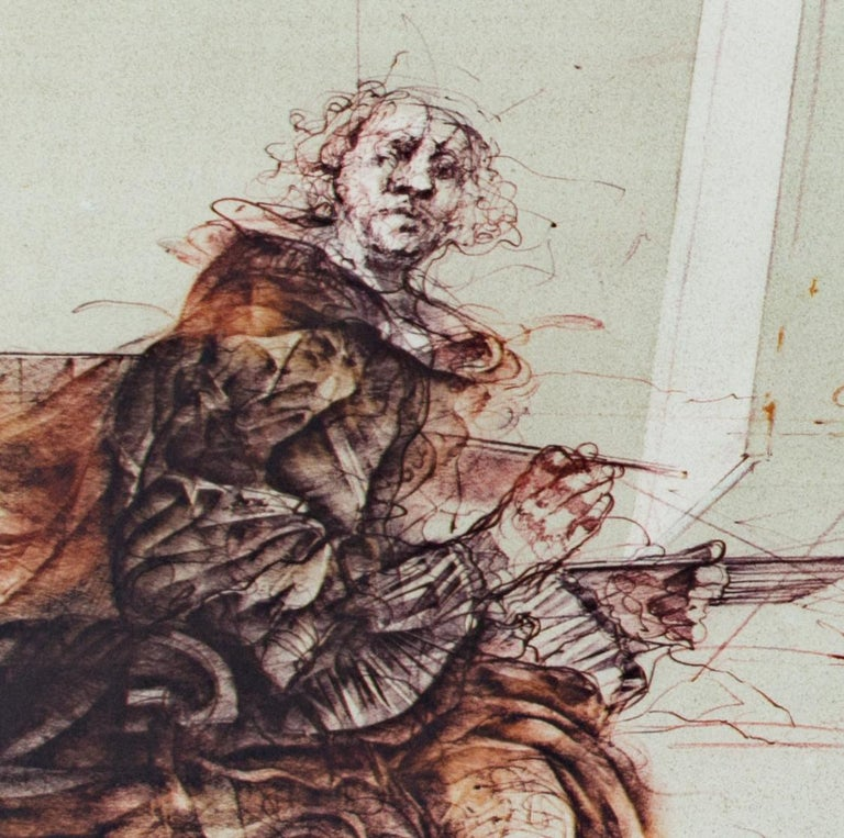 'Boeuf Ecorche' original signed lithograph, Rembrandt with slaughtered ox 1970s - Contemporary Print by Claude Weisbuch