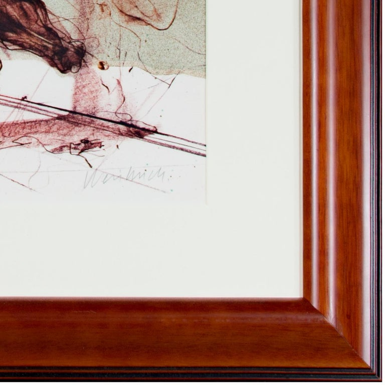 'Boeuf Ecorche' original signed lithograph, Rembrandt with slaughtered ox 1970s - Beige Figurative Print by Claude Weisbuch