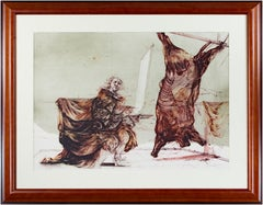 'Boeuf Ecorche' original signed lithograph, Rembrandt with slaughtered ox 1970s