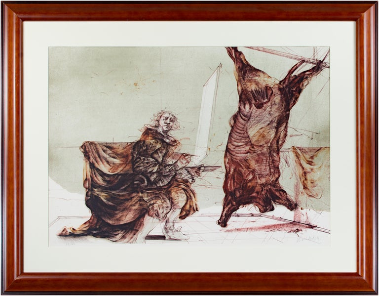 Claude Weisbuch Figurative Print - 'Boeuf Ecorche' original signed lithograph, Rembrandt with slaughtered ox 1970s