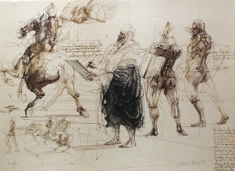 "Claude Weisbuch Figurative Print - ""Homage a Leonardo d'Vinic (Leonardo drawing),"" Lithograph signed by Weisbuch"