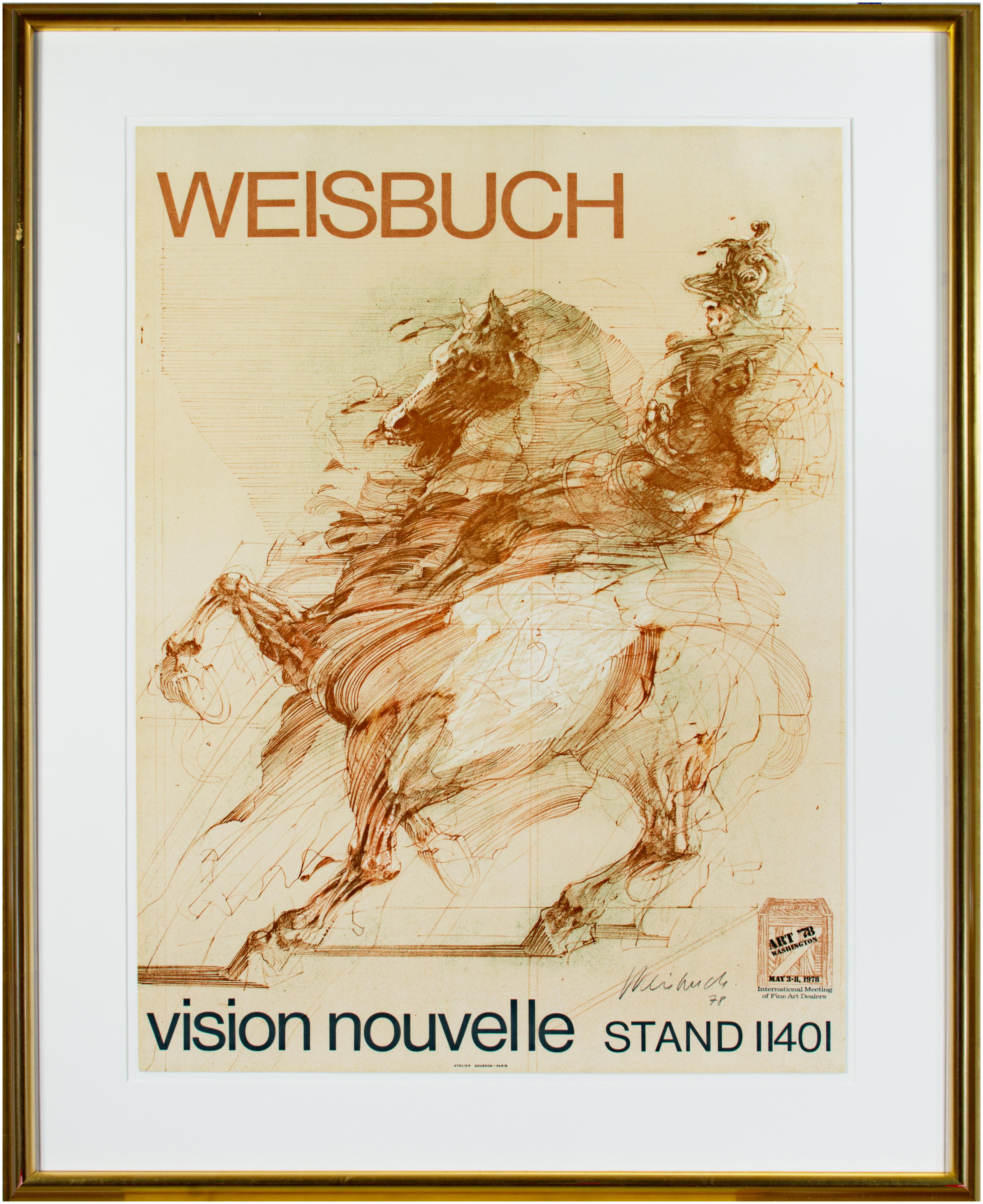 'Le Condottiere' original signed lithograph poster, knight on horseback 1970s