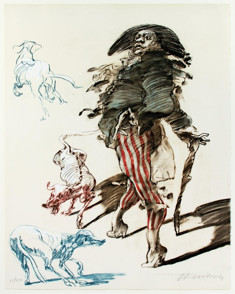 'Polichinelle Et Ses Trois Chiens' original signed lithograph, Pulcinella & dogs - Print by Claude Weisbuch