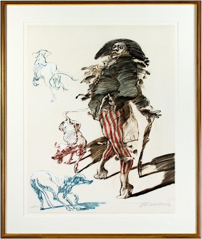 Claude Weisbuch Figurative Print - 'Polichinelle Et Ses Trois Chiens' original signed lithograph, Pulcinella & dogs