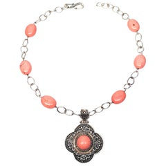 Claudia Agudelo EXEX Sterl Silver and Pink Stone Necklace with Enhancer