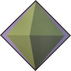 """Claudia Fauth Acrylic Painting on Canvas """"The Green Octahedron"""""""