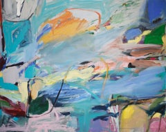 River Run, Abstract Landscape, Acrylic Painting on Canvas, Signed