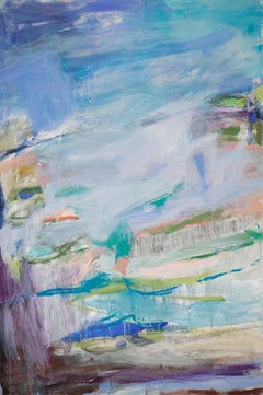 Sun River, Abstract Acrylic Painting on Canvas, Signed