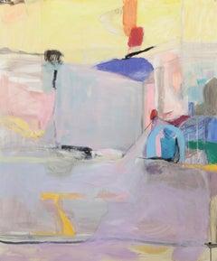 Sunrise, Abstract Landscape Painting, Acrylic on Vellum, Framed, Signed