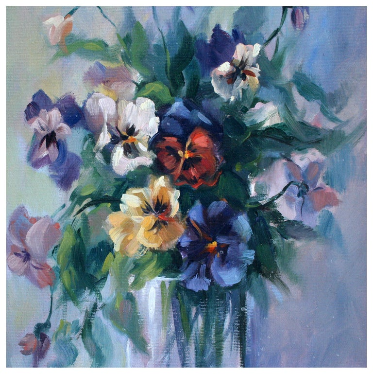 Floral Bouquet Still-Life  - American Impressionist Painting by Claudia Peterson