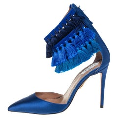 Claudia Schiffer For Aquazzura Blue Satin And Suede Tasseled Loulou Pumps Size 3