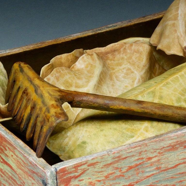 Raking Leaves - Beige Still-Life Sculpture by Claudia Tarantino