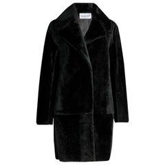 Claudie Pierlot Black Fancy Shearling Coat FR 36