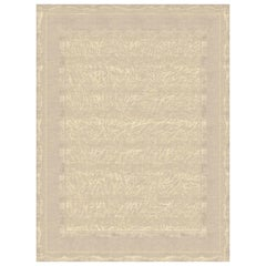 Claudine Terrestre - Beige Ornamental Hand Knotted Wool Silk Rug
