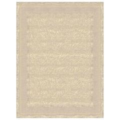 Claudine Terrestre - Beige Ornamental Hand Knotted Wool Silk Rug