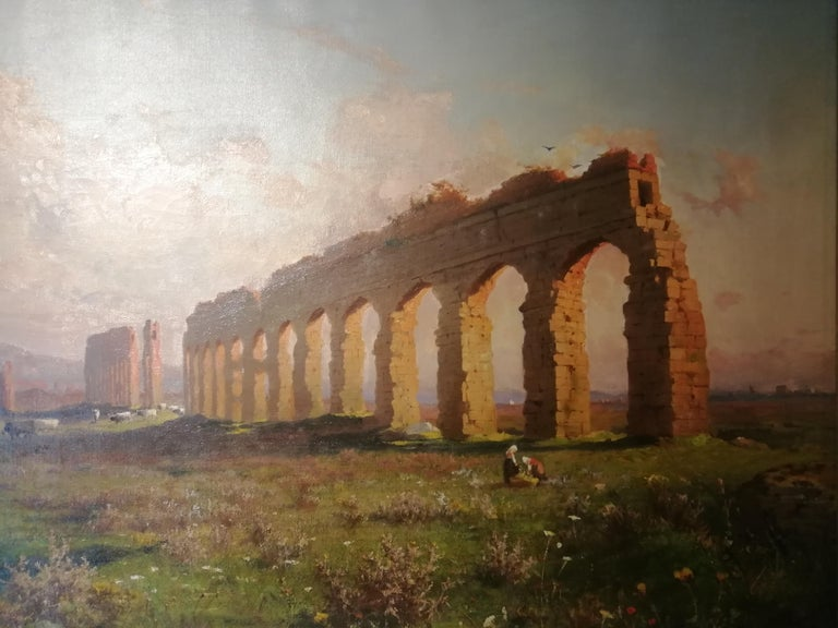 Polish Claudio Aqueduct, Henryk Cieszkowski Oil on Canvas Rome Landscape Painting For Sale