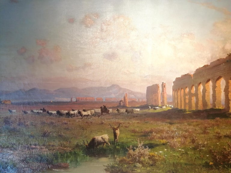 Claudio Aqueduct, Henryk Cieszkowski Oil on Canvas Rome Landscape Painting For Sale 1