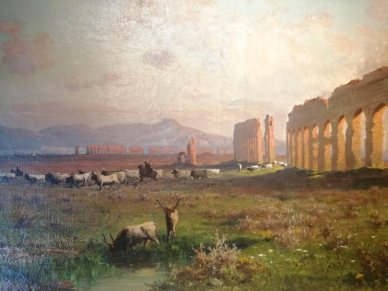 Claudio Aqueduct, Henryk Cieszkowski Oil on Canvas Rome Landscape Painting For Sale 4